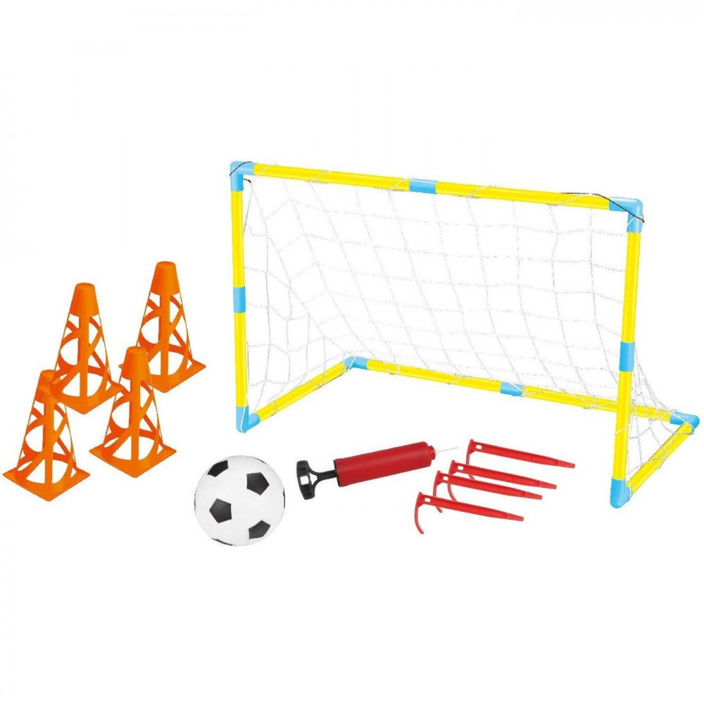 Porta da Calcio Super Goal 122048 Kit con Pallone Gonfiatore Picchetti e Coni
