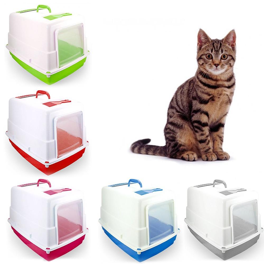 10580 Toilette per gatti HEIDI chiusa porta basculante carboni attivi 54x39x39cm