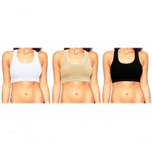 Set 3 reggiseni traspiranti tessuto morbido per allenamenti a basso impatto uso sportivo senza cuciture