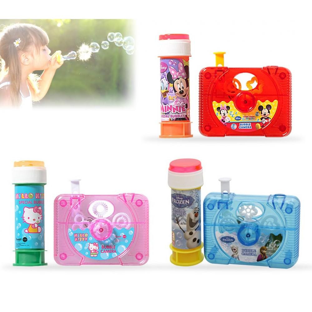 Macchina fotografica per bolle di sapone effetto magico vari personaggi cartoon con flacone 60 ml
