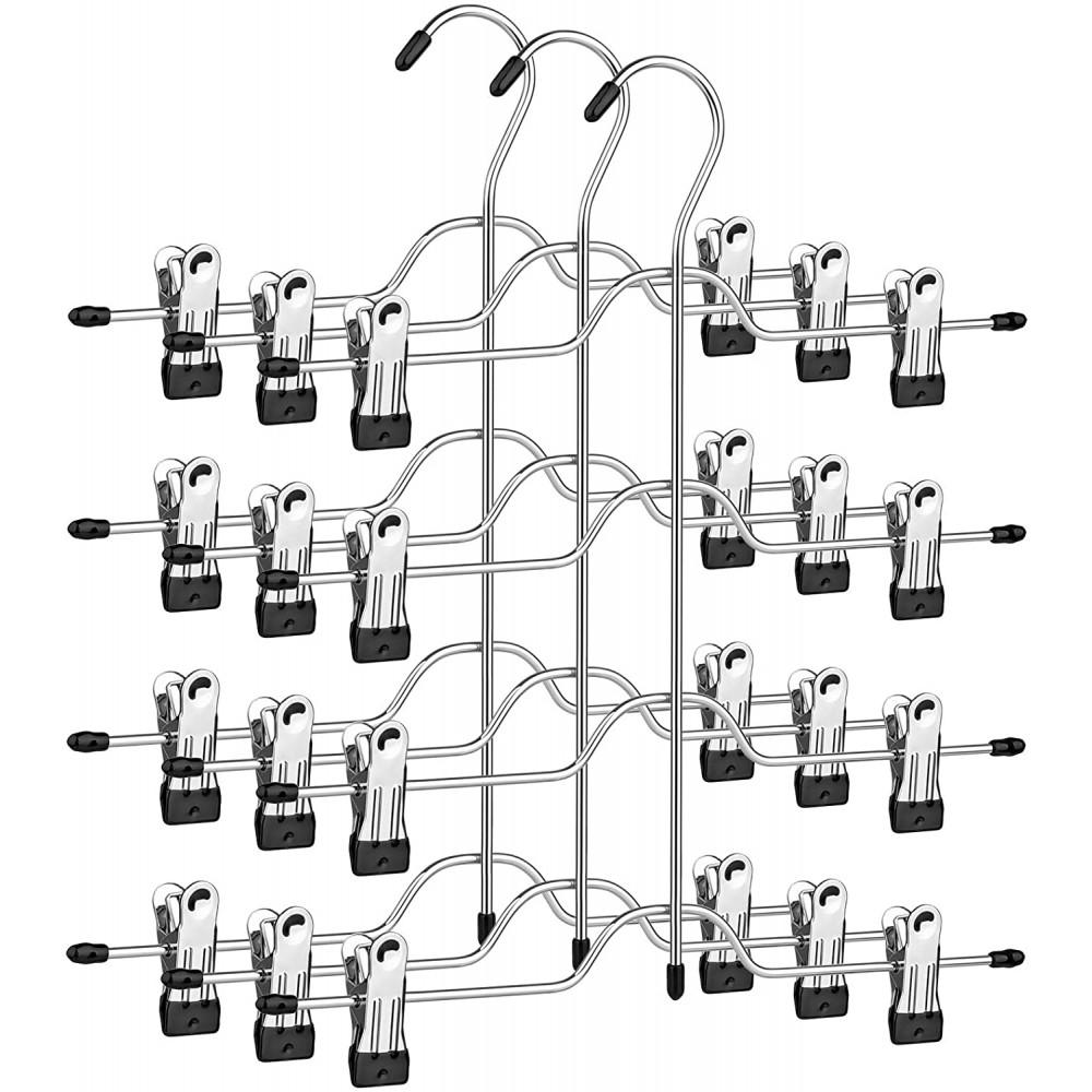 Set 3 Grucce Multiple in Metallo Appendiabiti Salvaspazio con Pinze a 4 Livelli
