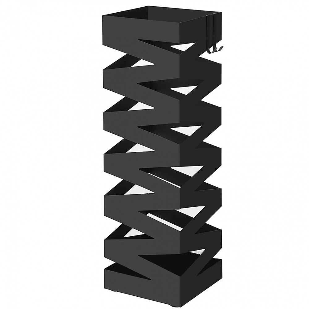 Portaombrelli in Metallo Nero Quadrato Design Stile Moderno con Ganci 49x15.5 cm