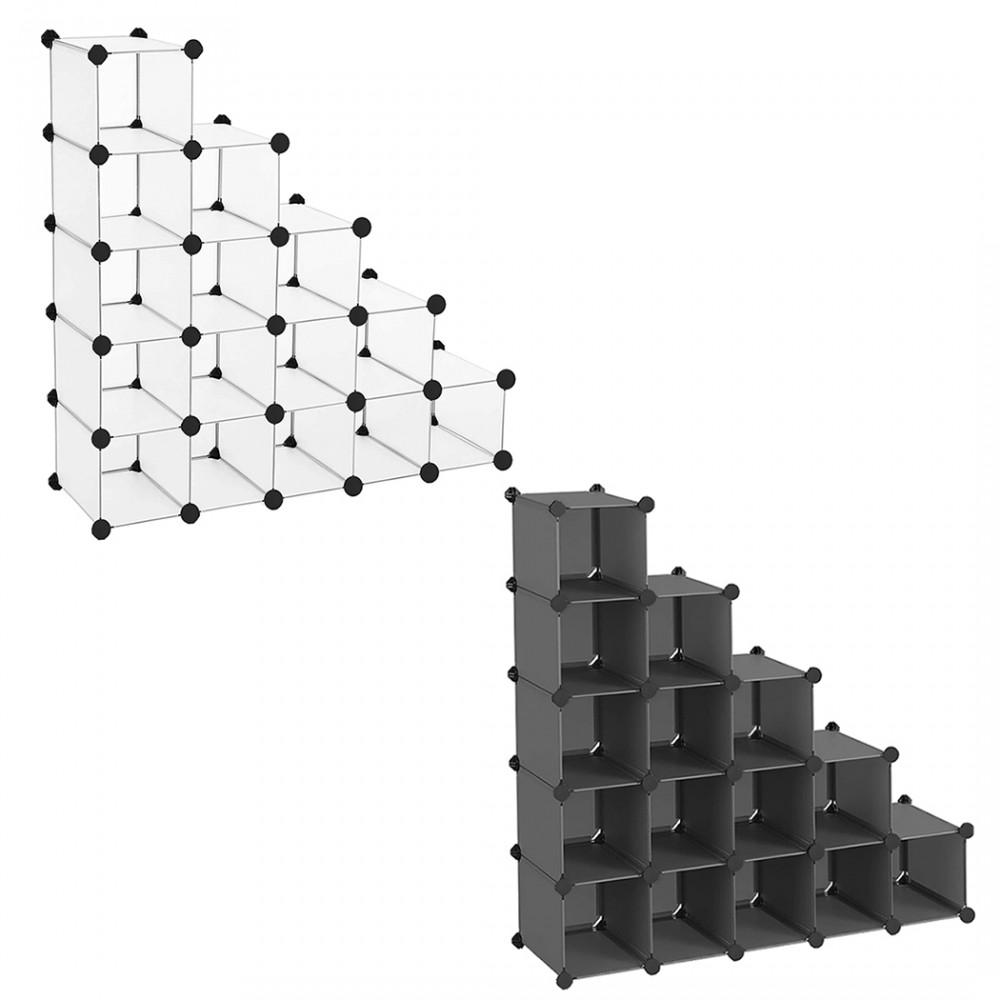 Scaffale Portaoggetti Libreria Modulare con Cubi in PVC 53 Pezzi Componibili