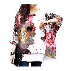Blusa in chiffon oversize taglio asimmetrico maglia elegante e casual con stampa floreale bianca 005