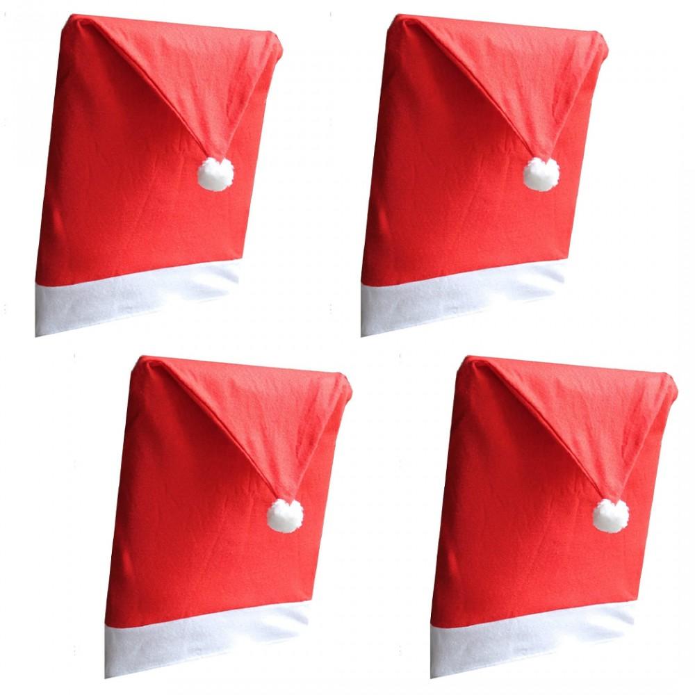 Kit 4 Coprisedie Natalizio a Forma di Cappello di Babbo Natale per Schienale