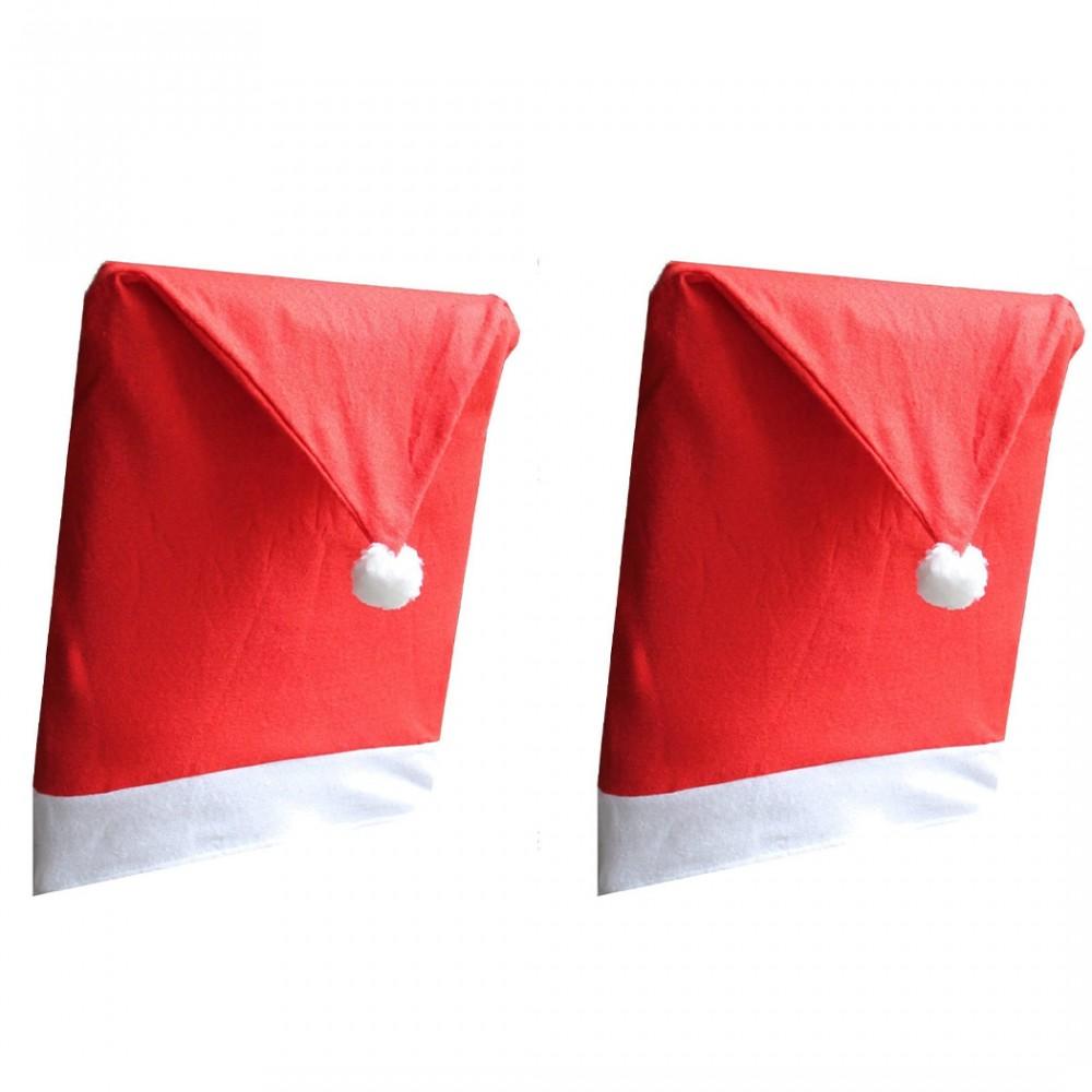 Kit 2 Coprisedie Natalizio a Forma di Cappello di Babbo Natale per Schienale