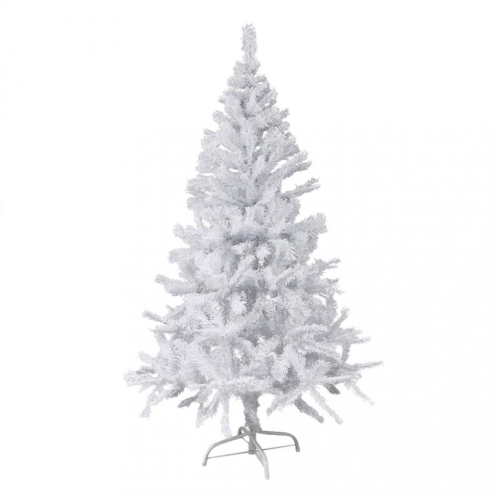 Albero di Natale Bianco 210 cm Abete Artificiale BIANCONATALE Rami Pieghevoli