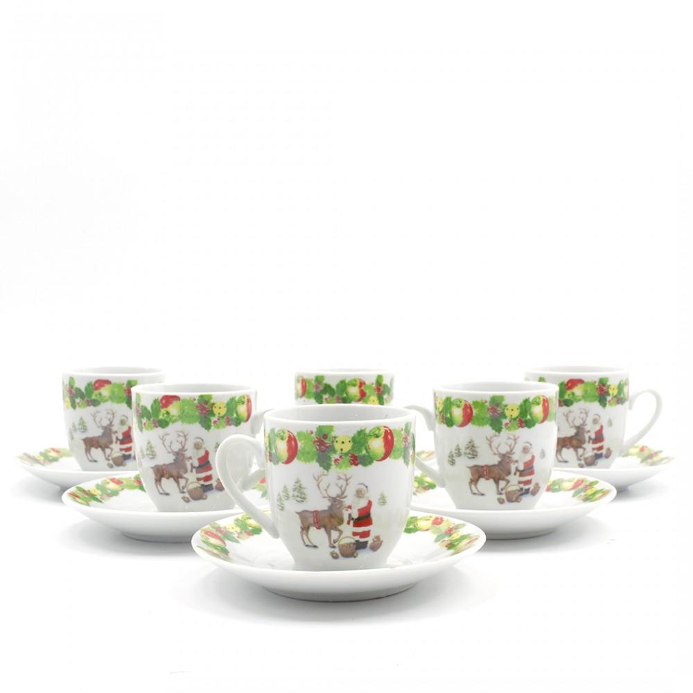 Set di 6 Tazzine da Caffè e Piattini in Ceramica con Babbo Natale e Renna