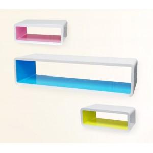 Set 3 mensole componibili di design colorate in 3d rettangolari di misure diverse