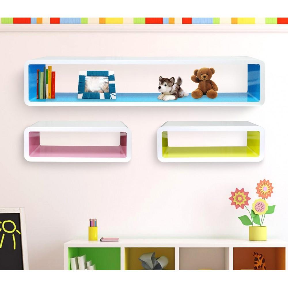 Set 3 mensole rettangolari colorate componibili di design effetto 3d misure diverse laccato lucido