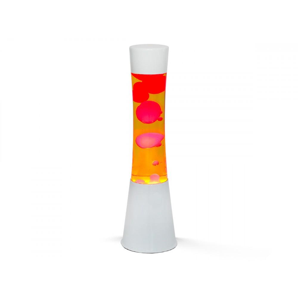 Lampada Lava Lamp 40 cm XL1757 Base Bianca Magma Verde e Giallo Design Moderno