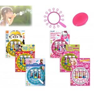 Disco volante 22 cm e soffiatore per bolle di sapone giganti con 3 flaconi cartoon frisbee bubbles