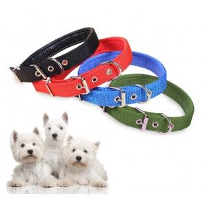 Collare in nylon con imbottitura per cani di piccola taglia con chiusura con fibbia regolabile in diversi colori