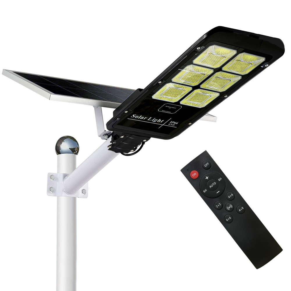 Faro Lampione con Pannello Solare 6 Led 500 W con Staffa e Telecomando