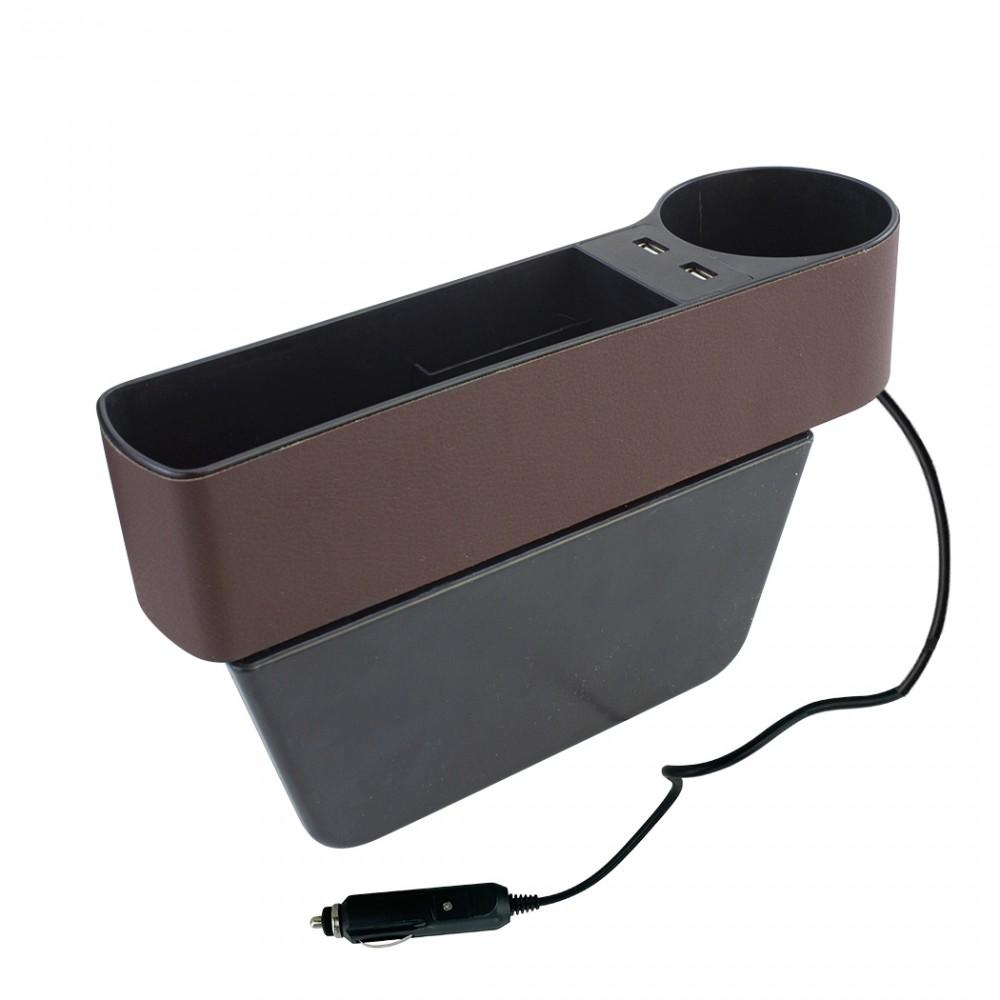 Vano Portaoggetti Laterale per Auto Tasca con 2 Porte USB e Portabicchieri