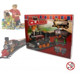 Image of Playset circuito treno merci locomotiva classica con movimento a batterie con binari 4 vagoni e segnali 374723 8018747280427