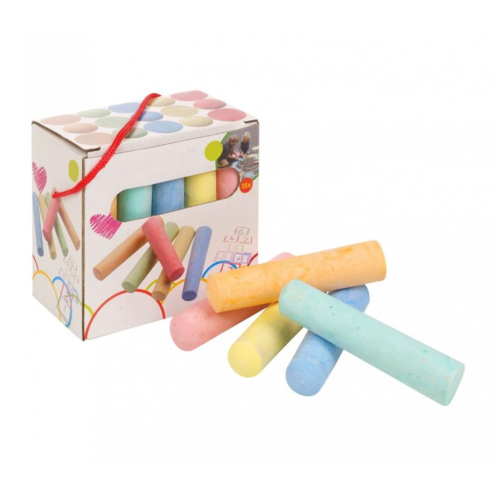 Confezione di 15 MAXI gessi colorati 10 cm 907260 per disegni su strada lavagna