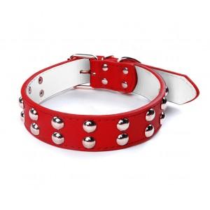 Image of Collare in cuoio martellato con borchie tonde per cani taglia grande chiusura con fibbia regolabile 8004243244438