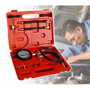 Tester kit con 10 accessori utili al controllo della pressione per impianti di iniezione carburante auto in pratica valigetta