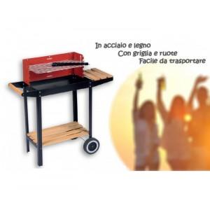 Barbecue a carbonella rettangolare 83x28x83 cm BBQ acciaio e legno con ruote