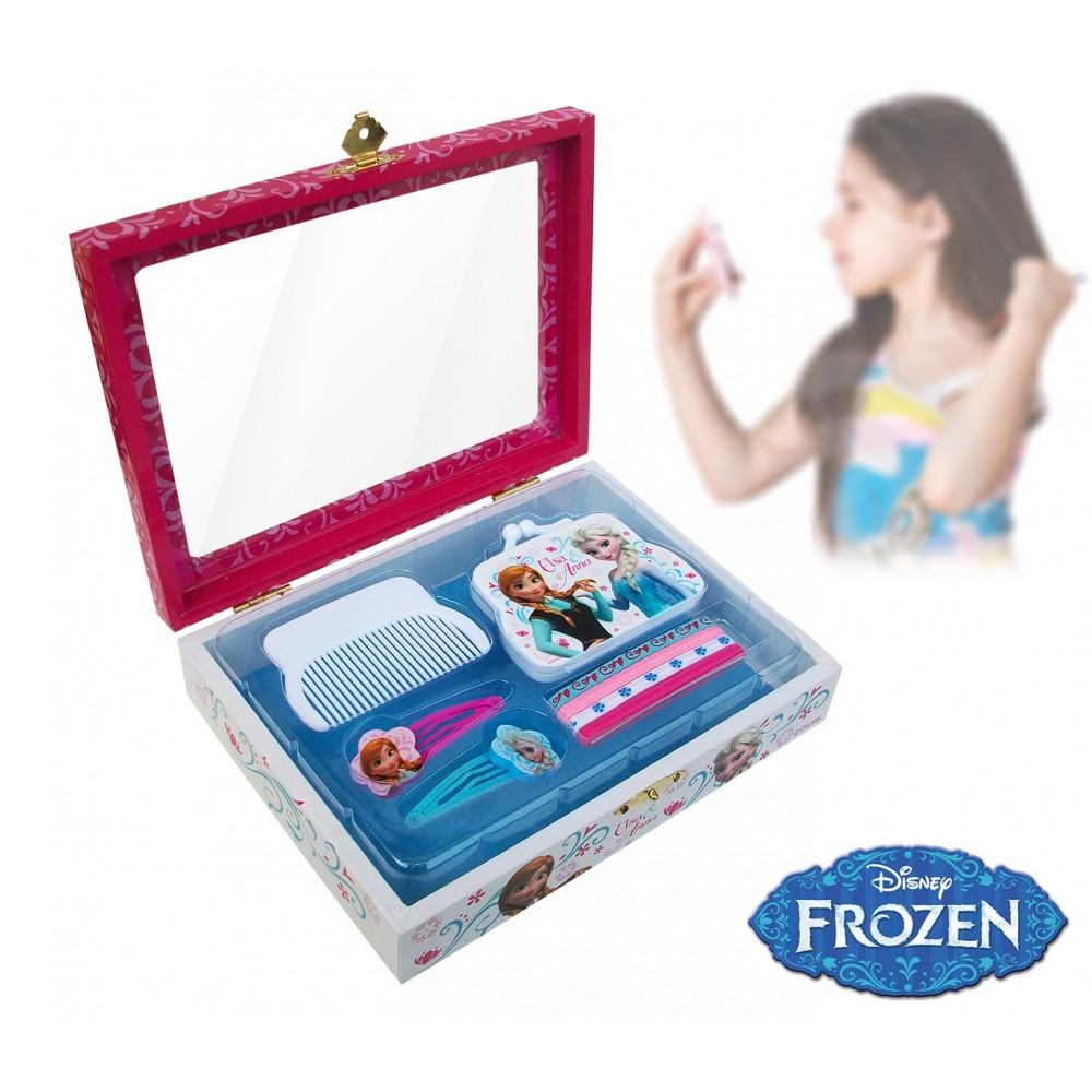 Confezione regalo Frozen kit accessori per capelli cofanetto in legno WD16393