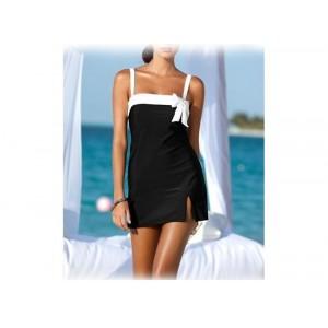 Vestito donna mod Tres Chic vestitino mare nero con fiocco bianco bretelle regolabili
