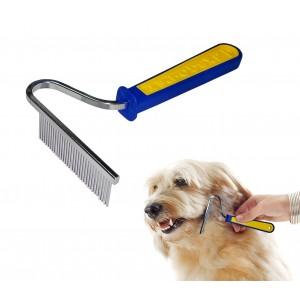 Pettine a rastrello in acciaio per pelo e sottopelo animali a 30 denti punte coniche cura del cane