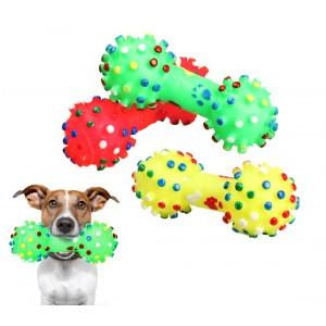 Gioco a forma di osso riportino per animali domestici 16 cm in gomma morbida sonoro per cani e gatti