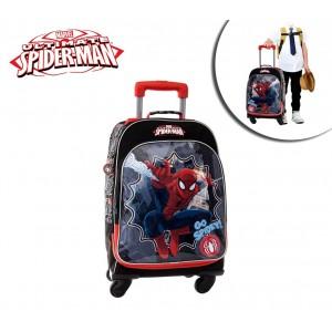 Trolley scuola e viaggio tessuto Spiderman 4 ruote e maniglia regolabile 44 x 33 x 21 cm Marvel 4322851
