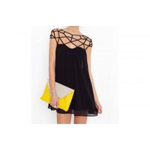 Vestitino mod. Suave scollo a ragnatela total black mws ahead abito elegante