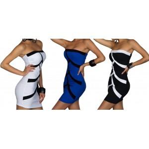 Mini abito donna mod Strips corto a tubino vestito da sera MWS AHEAD aderente senza spalline