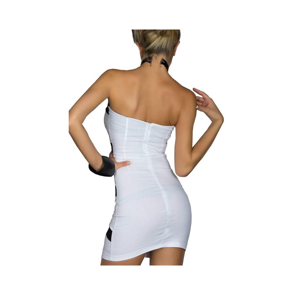 sale retailer f5331 19cc1 Mini abito donna mod Strips corto tubino MWS AHEAD aderente ...