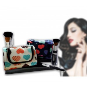 Set 4 pennelli trucco con beauty case coordinato make up fantasia Cuore