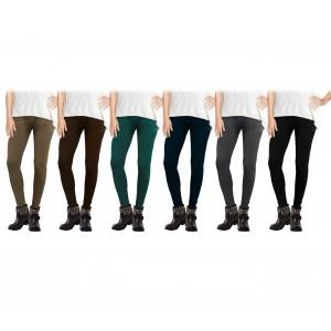 Pack da 6 leggings modello Diamond vari colori donna con fantasia tono su tono elasticizzato