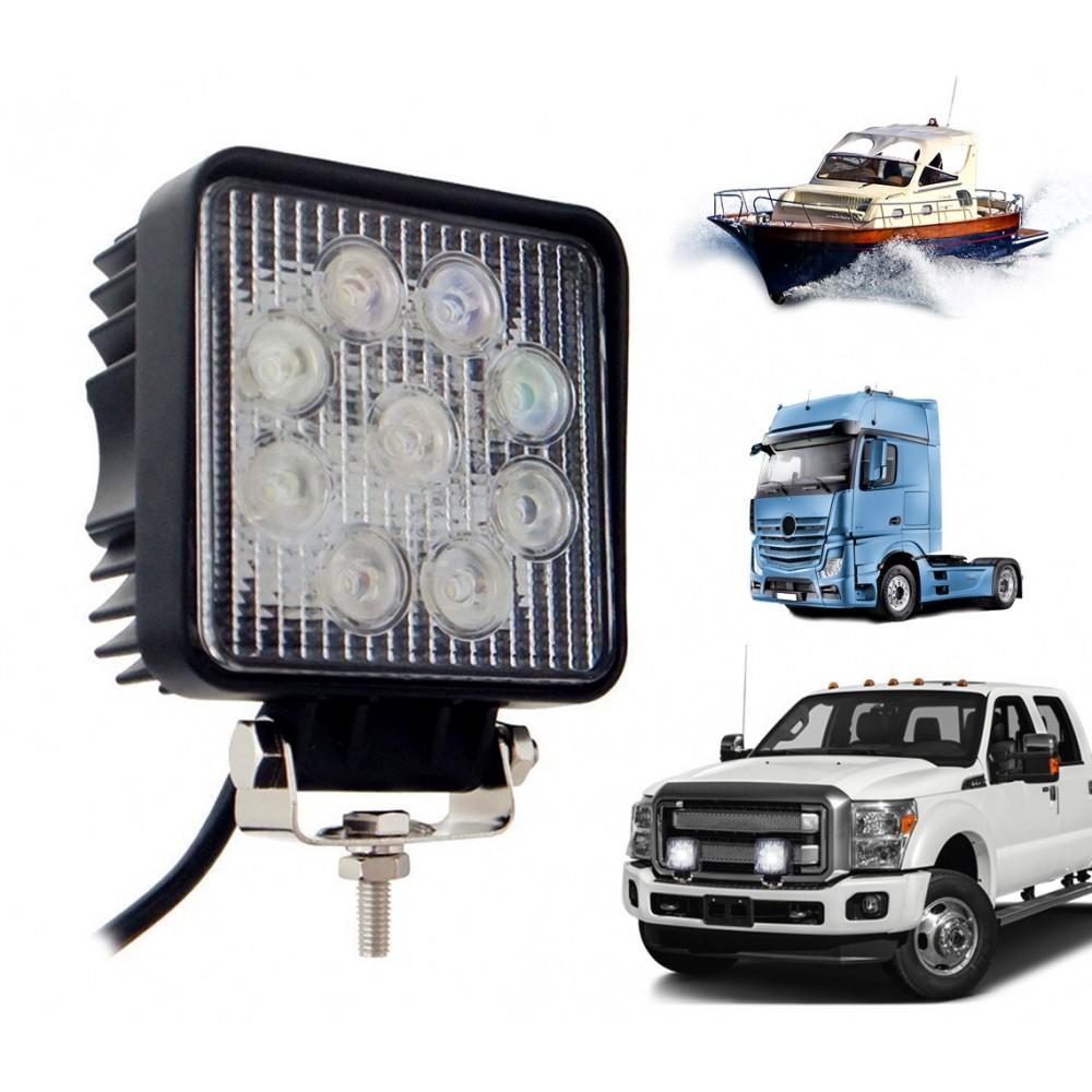 Faro 9 led quadrato auto camion barche off road impermeabile 27 watt luce fredda