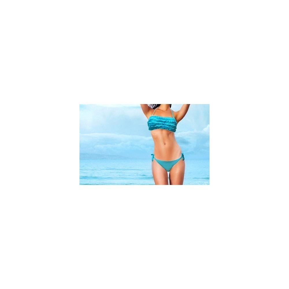 Costume bikini MWS AHEAD mod. Sunny con top a fascia e volant drappeggio mare