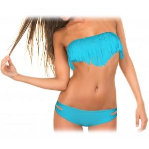 Costume a fascia con frange imbottitura removibile bikini mare push up