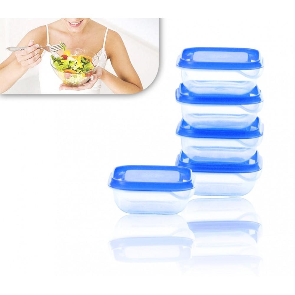 Set 5 contenitori in plastica GUSTO CASA da 350 ml con coperchi ermetici per conservazione alimenti 671815