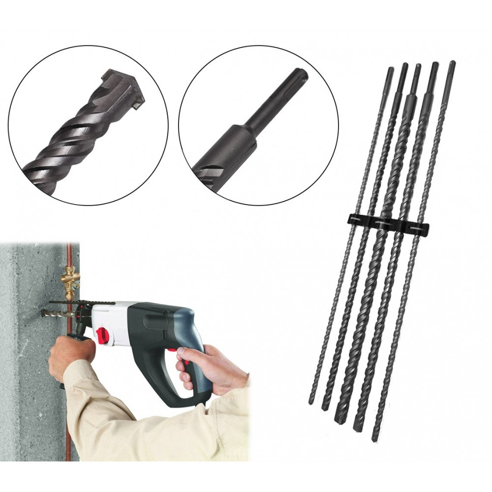 Set 5 punte trapano giganti elicoidale cemento 10-12-16-20-24 mm lunghezza 60 cm