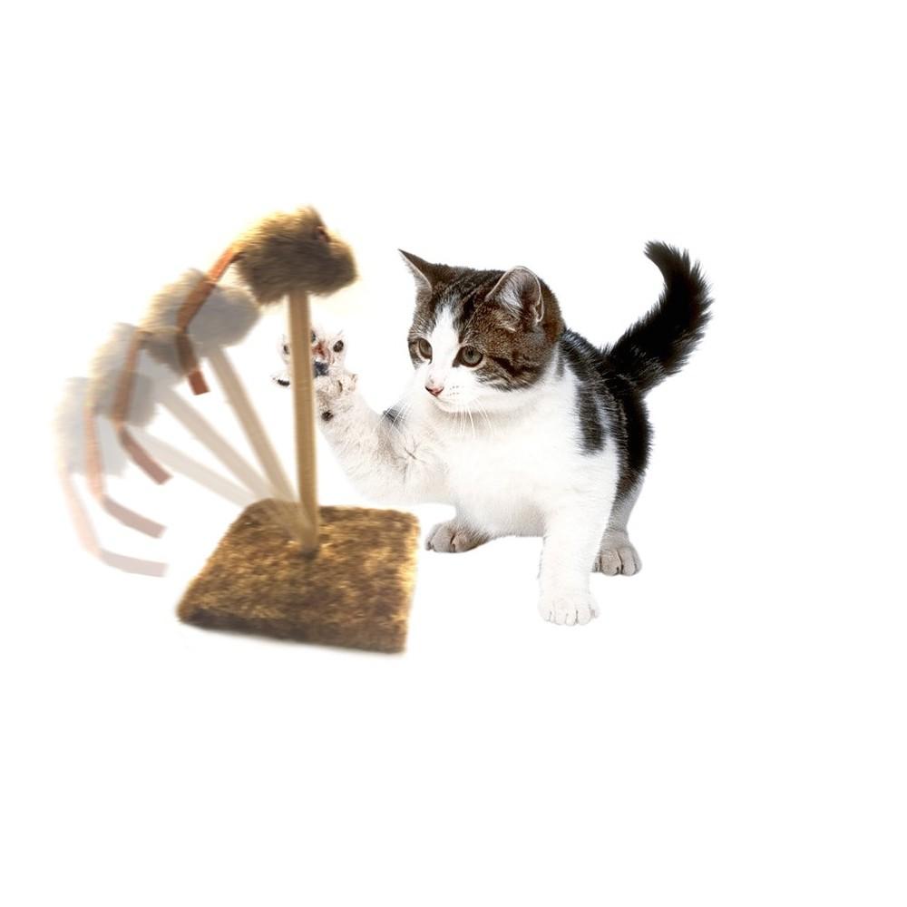 Tiragraffi 13 x 13 x 23 cm con molla topino oscillante peluche gioco per gatti