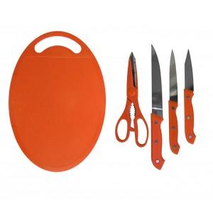 Set coltelli con forbice e tagliere in plastica colorati per dare colore alla tua cucina set da 5 pezzi