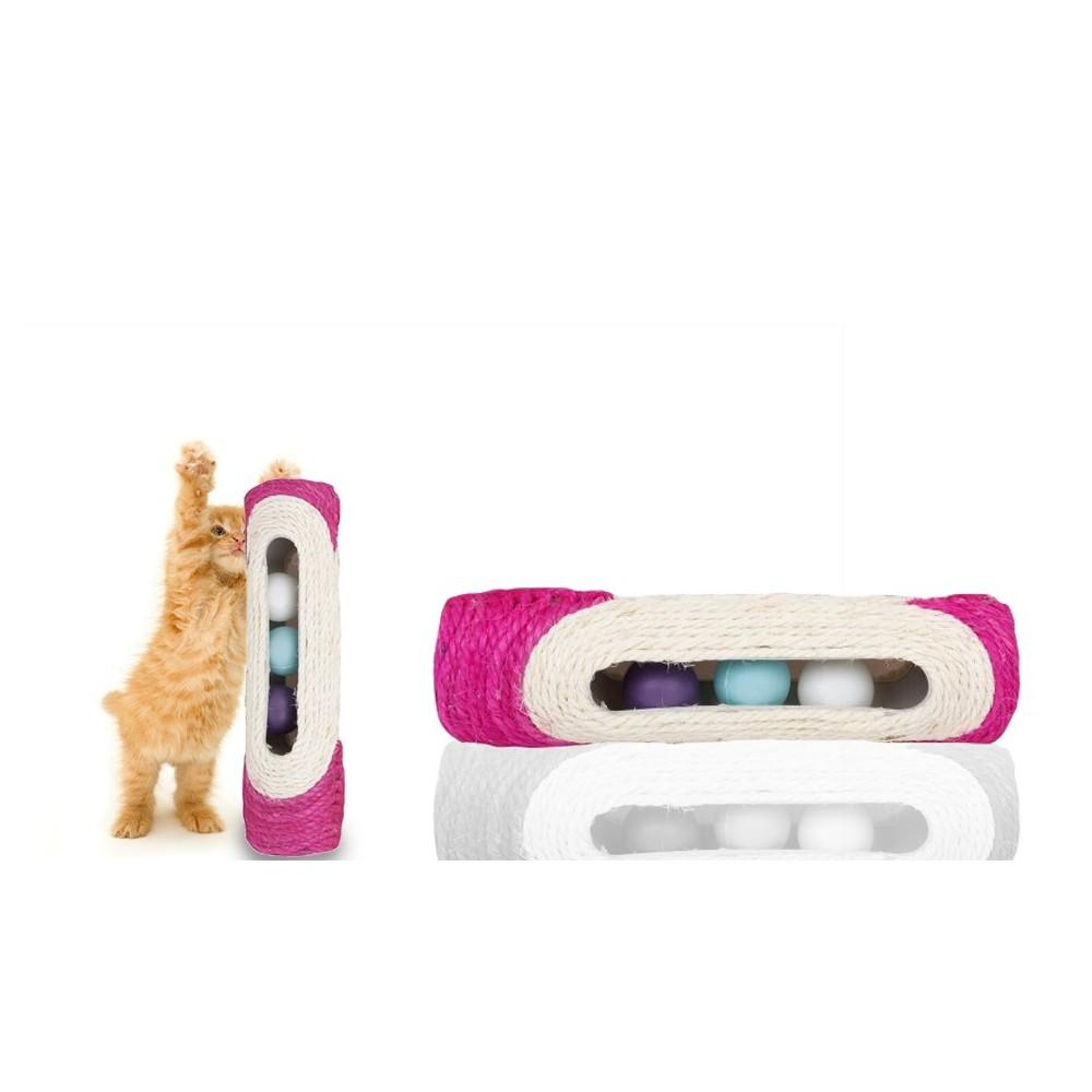 Rullo in sisal tiragraffi 29 x 7,5 cm con palline sonore gioco  per gatti