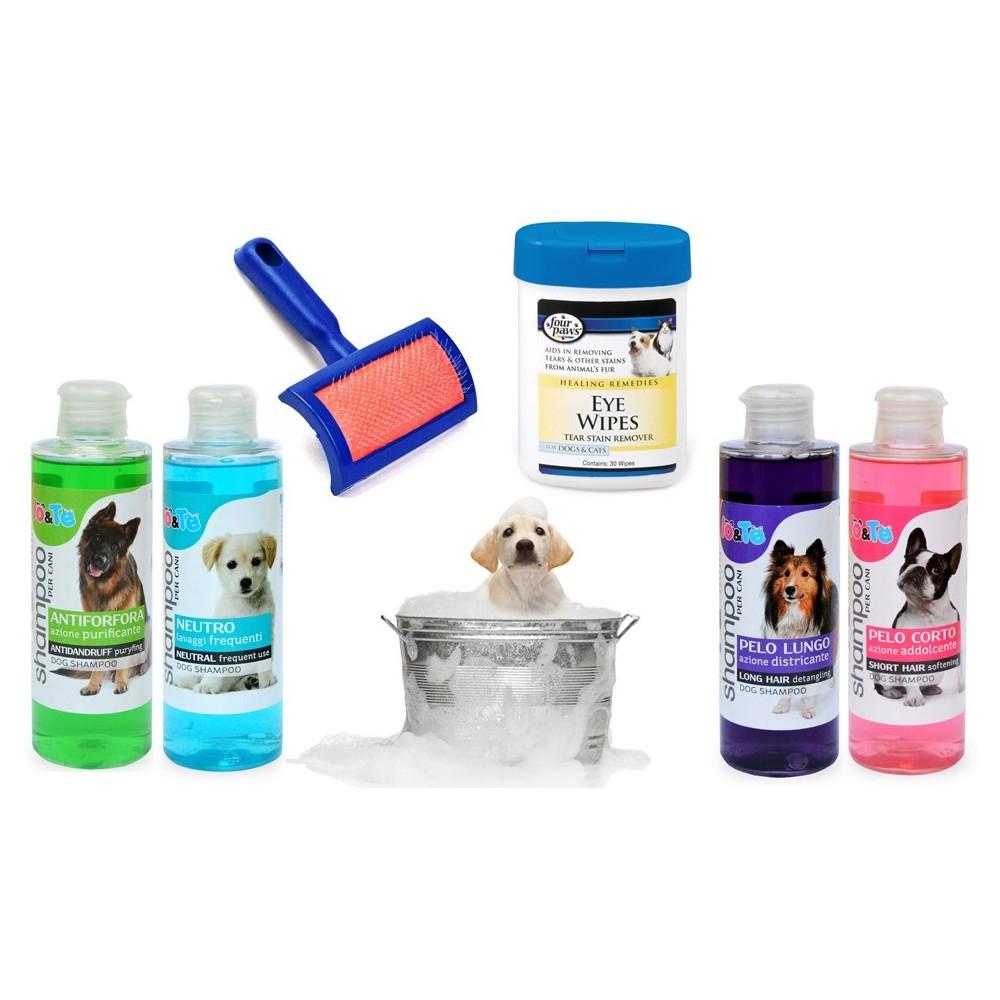 Kit pulizia completa cani shampoo salviettine e spazzola cardatore