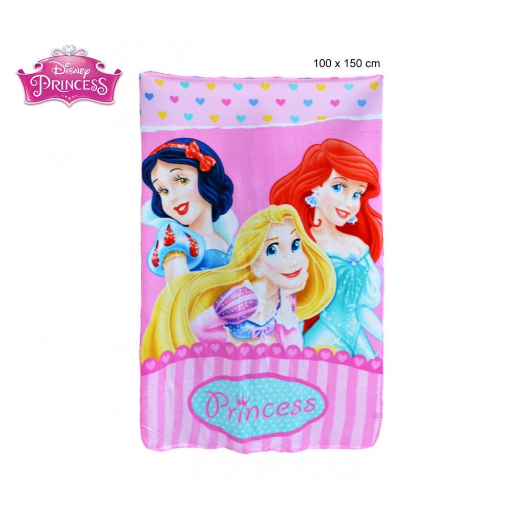 Coperta in pile con stampa Principesse 100 x 150 cm caldo plaid con personaggi Disney 0927