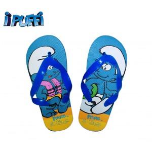 Ciabatte infradito bimbo graficamente decorate con personaggi cartoon i Puffi sandali in gomma azzurri