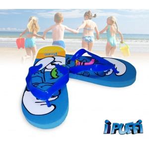 2301000547 Ciabatte infradito bimbo cartoon i Puffi sandali in gomma azzurri