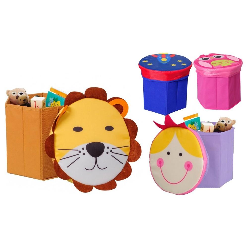 Contenitore scatola portagiochi con simpatici coperchi leone gufo bimba razzo 27 x  H28 cm