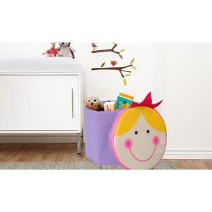 Image of Contenitore scatola portagiochi con simpatici coperchi leone gufo bimba razzo 27 x  H28 cm 8013342235773