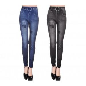 Leggings effetto denim con stampa dettagli toppe e cinta in vita slim modellante J0173
