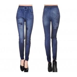 Image of J0173 Leggings modellante effetto denim stampa dettagli toppe e cinta slim 8016249081320